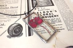 Red flower. Jewelry. Flower necklace. Glass by AcoyaJewellery