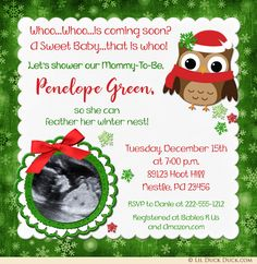 Baby owl Christmas shower invitation inquires whoo is coming soon this holiday season! Festive snowflake patterns, custom red & green colors and cute owl