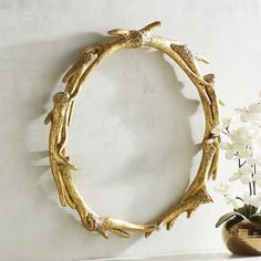 Pier 1 Imports Gilded Antler Wall Decor ($50) ❤ liked on Polyvore featuring home, home decor, wall art, gold, gold wall art, antler home decor, gold home accessories, pier 1 imports and gold home decor