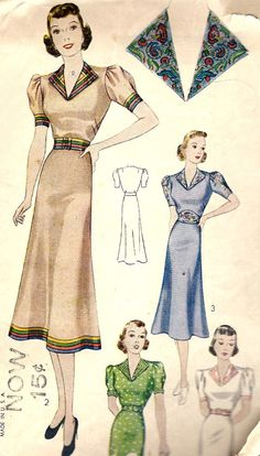 Simplicity 2714, late 1930s.  Turned back revers may be trimmed with rick-rack braid embroidery ribbon, or detachable lace trimmed revers and cuffs.