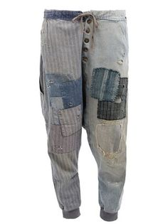 Greg Lauren Patchwork-Jeans mit tiefem Schritt