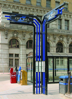 urban signage- now that design (along with it's bold colors), will get noticed- exactly what you want your wayfinding signage to be.