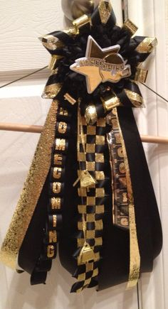Homecoming mum garter  Black and Gold  Ready To Ship by MumAMia3, $35.00