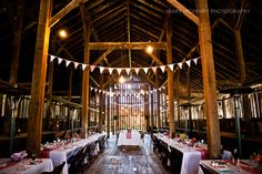 So, this is what our barn looked like. Homemade bunting, table runners, and napkins.
