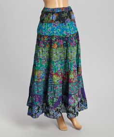 Look at this The OM Company Green Patchwork Maxi Skirt on #zulily today!