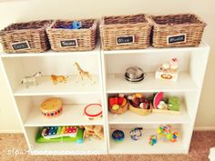 Montessori shelves in playroom