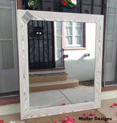 "wood mirror snow white 42""x36"" by Muller Designs"