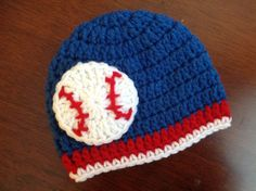 Baby Baseball hat baby crochet hat Chicago Cubs, Toronto Blue Jays, or Texas Rangers Baby Baseball Hat Crochet Cap, Crochet Bebe, Crochet Baby Hats, Crochet For Kids, Knitted Hats, Irish Crochet, Free Crochet, Crochet Patterns Amigurumi, Crochet Projects