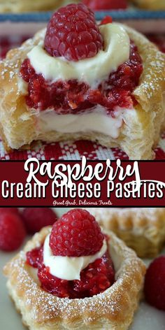 Cream Cheese Pastries tastes delicious with a cream cheese and raspberry filling and topped with a fresh raspberry.Raspberry Cream Cheese Pastries tastes delicious with a cream cheese and raspberry filling and topped with a fresh raspberry. Fresh Raspberry Recipes, Raspberry Desserts, Raspberry Filling, Köstliche Desserts, Delicious Desserts, Dessert Recipes, Fancy Desserts, Chocolate Desserts, Plated Desserts
