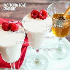 """RASPBERRY BOMB SMOOTHIE - INGREDIENTS - ▪️1 scoop SHREDZ Vanilla protein ▪️6 oz greek yoghurt ▪️1 cup raspberries ▪️1 tbsp honey ▪️ice -…"""