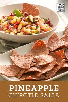 Fresh and sweet this Pineapple Chipotle Salsa tastes even better with the fall flavors of Food Should Taste Good Harvest Pumpkin Tortilla chips.