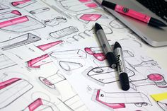 Sketches we like / Linework / Pink / Pencil and Marker / Iconic shapes / at yankodesign