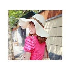 Flower Embellished Bohemia Straw Anti-sunshine Hat White via Polyvore  Sombreros De Sol Para Mujeres 8c4b5b7a281