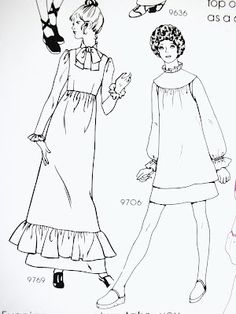 114 best 1970s images ladies fashion clothes clothes patterns Vintage Pinafore Apron Girl early 1970 s fashion illustrations pintuckstyle blogspot simple line drawings fashion