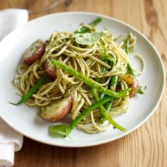 Fast Mario Batali Recipe: Trenette with Pesto, Beans and Potatoes