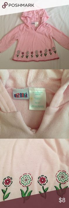Okie-Dokie 3T Soft Pink Hoodie Super Soft floral, light pink hoodie by Okie-Dokie in the size 3T. In good condition with a small stain on the tag, but no other issues. The inside is really warm and soft. The bottom of the front has flowers printed on it along with some red thread details. Okie-Dokie Shirts & Tops Sweatshirts & Hoodies