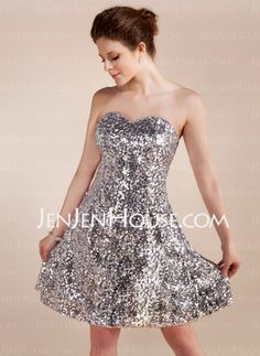 A-Line/Princess Sweetheart Short/Mini Sequined Cocktail Dress (016005832) - JenJenHouse