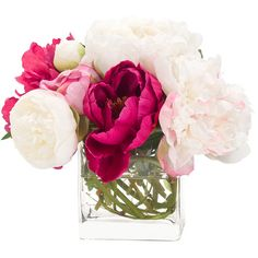 Faux peony arrangement in glass vase. Made in the USA. Product: Faux floral arrangementConstruction Material: Polyes...