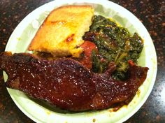 BBQ Pork Steak, Mustard Greens, Cornbread