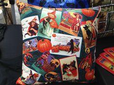 Halloween Postcard Throw Pillows (2) - Vintage Look - Handmade