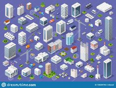 set of urban buildings of different colors for creativity and design includes skyscrapers houses shops offices natural sites trees transport Business Illustration, Digital Illustration, Photo Backgrounds, Abstract Backgrounds, Isometric Design, Photo Texture, 3d Building, Abstract Photos, New Pictures