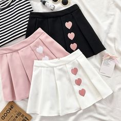 Korean Black/White/Pink Cute Hearts Skirt SD02315