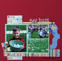 Easter Scrapbooking Ideas and Free Easter Patterns: Egg Hunt Scrapbook Page Idea