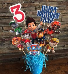 Paw Patrol Party Decoration Centerpiece by myhusbandwearscamo Paw Patrol Theme Party, Paw Patrol Party Decorations, Paw Patrol Cake, Paw Patrol Birthday, Paw Patrol Centerpieces, Table Centerpieces, 4th Birthday Parties, 3rd Birthday, Birthday Ideas