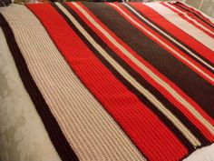"Vintage Striped Red Beige Green Brown CROCHETED AFGHAN BOHO Retro Chic 52""x66"" #Handmade"