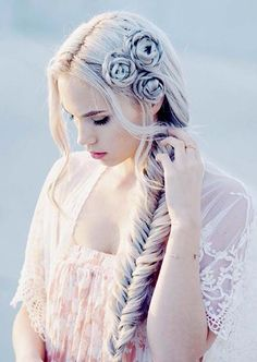 100 Trendy Long Hairstyles for Women: Fishtail Braids With Flower Braids