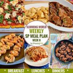 Slimming Eats SP Weekly Meal Plan - Week 8 - Slimming World - taking the work out of planning so you can just cook and enjoy the food. slimming world diet plan Sp Meals Slimming World, Slimming World Breakfast, Slimming World Plan, Slimming Eats, Slimming World Recipes, Sliming World, Sw Meals, Speed Foods, Breakfast Lunch Dinner