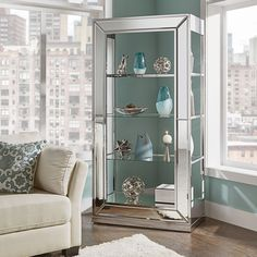 House of Hampton Camelford Mirror Cabinet Friends Apartment, Light Blue Walls, Mirror Cabinets, Beach Cottages, China Cabinet, Bathroom Medicine Cabinet, Tall Cabinet Storage, House, Furniture
