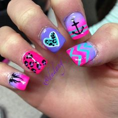 ⚓Neon Pink Leopard Nails With Anchor⚓