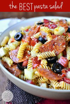 Pasta Salad Recipes Healthy Pasta Salad Recipes That Are Easy Pasta Salad Recipes. You can use any kind of cooked pasta to make a pasta salad recipe – whole wheat pasta, pasta shells, spirals… Best Pasta Salad, Pasta Salad Recipes, Summer Pasta Salad, Orzo Salad, Salad Bar, Pasta Dishes, Food Dishes, Side Dishes, Fettucine Alfredo