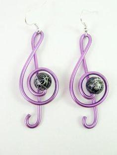 Treble clef earrings in wire wrapped purple aluminium by alufolie