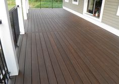 Discover recipes, home ideas, style inspiration and other ideas to try. Deck Railings, Decks And Porches, Porch Remodel, Wood Deck Stain, Dark Wood Decking, Deck Colors, Dark Deck, House Deck, Deck Paint Colors