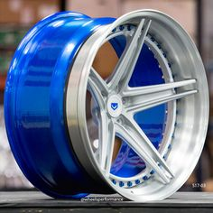 Gorgeous Vossen Forged concave wheels with custom blue inners, rivets and center caps. These wheels are available and are proudly made in the USA. Rims For Cars, Rims And Tires, Wheels And Tires, Custom Wheels, Custom Cars, Ford Fusion Custom, Jdm Wheels, Custom Forge, 1968 Camaro