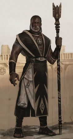 m Cleric Med Armor Robes Cloak Staff Desert city wall by Karla Ortiz lg Male Character, Character Portraits, Fantasy Character Design, Character Concept, Concept Art, Black Characters, Dnd Characters, Fantasy Characters, Fantasy Rpg