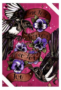 One For Sorrow - Magpies A3 Tattoo Flash Art Print