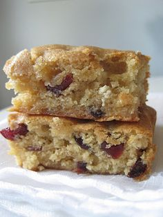 cranberry white chocolate blondies -- could mix up the bits and make them with anything