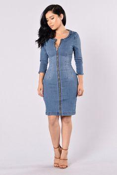 Heritage Denim Dress - Medium Wash  $29.99 USD