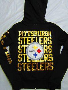 Victorias Secret Pink Pittsburgh Steelers Hoodie SweatShirt Bling NWT Large RARE