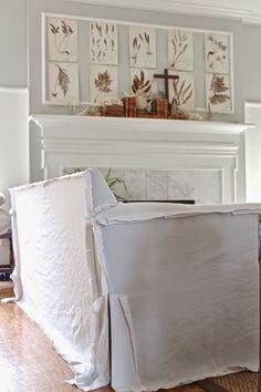 Welcome to Becki Griffin's Curious Details. Drop Cloth Slipcover, Slipcovers, Slipcover Sofa, Inspiration Boards, Country Chic, Home Projects, Entryway Tables, Blinds, Upholstery