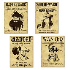 Our Pirate Wanted Sign Cutouts are perfect for your pirate themed party. The sign cutouts feature four of some of the worst pirates ever to walk the Earth including Blackbeard, Anne Bonny, El Draque and of course, the Notorious One-Eyed Jack. Decoration Pirate, Pirate Party Decorations, Party Themes, Hanging Decorations, Theme Parties, Deco Pirate, Pirate Day, Pirate Halloween Party, Pirate Birthday