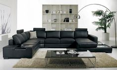 contemporary leather living room furniture. Simple In Modern Living Room Sets Uses Black Leather Sofa Glass Coffee  Table And Curve Standing Lamp pictures photos images Polaris Contemporary Sectional VIG Furniture