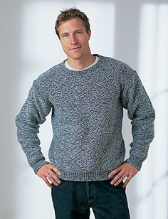 Basic, easy-knit sweater sure to please any man. (Yarnspirations)