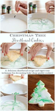 These one-bowl, no-mixer Christmas Tree Shortbread Cookies are not only delicious but the pretty decorating technique is super simple! #easychristmascookies, #easydecoratedchristmascookies, #christmastreecookies, #prettybuteasychristmascookies via @cafesucrefarine