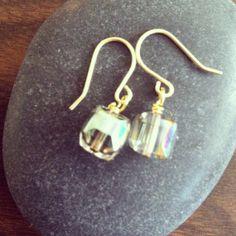Rainbow EarringsCube Glass Bead Earrings by MediterraneanWonders, $19.00