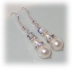Snowman Earrings, Christmas Earrings, Pearl Drop, Holiday Jewelry, Xmas Earrings, Snow Man Earrings, Swarovski Crystal Jewelry. $15.00, via Etsy.