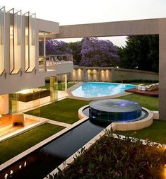 """This amazing modern mansion, dubbed """"Glass House"""" is located in Johannesburg, South Africa. It was designed by Nico van der Meulen Architects. It features square feet of luxurious living space with an open layout. Amazing Architecture, Interior Architecture, Sustainable Architecture, Contemporary Architecture, Contemporary Houses, Residential Architecture, Luxury Boat, Luxury Cars, Design Exterior"""